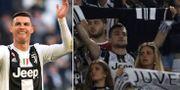 Juventusfans och Cristiano Ronaldo.  TT/Bildbyrån.