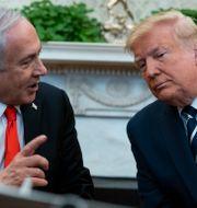 Netanyahu och Trump idag. Evan Vucci / TT NYHETSBYRÅN