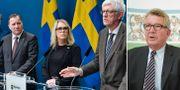 Ministrarna Damberg, Hallengren och Löfven på presskonferens med Folkhälsomyndighetens Johan Carlson. Giesecke. Arkivbilder TT