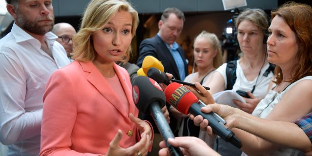 Kristdemokraternas partiledare Ebba Busch Thor i Almedalen.  Anders Wiklund/TT / TT NYHETSBYRÅN