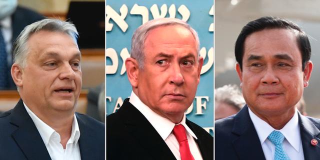 Ungerns premiärminister Viktor Orbán, Israels premiärminister Benjamin Netanyahu och Thailands premiärminister Prayut Chan-o-cha. TT