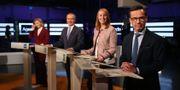 Främst från höger Ulf Kristersson (M), Annie Lööf (C), Jan Björklund (L) och Ebba Busch Thor (KD) under en partiledardebatt i Agenda. Sören Andersson/TT / TT NYHETSBYRÅN