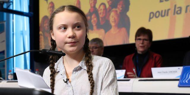 Greta Thunberg på plats i Bryssel.  YVES HERMAN / TT NYHETSBYRÅN