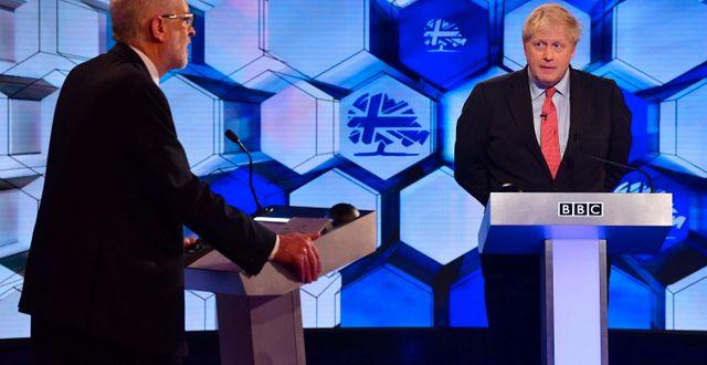 Jeremy Corbyn och Boris Johnson. JEFF OVERS/BBC / TT NYHETSBYRÅN