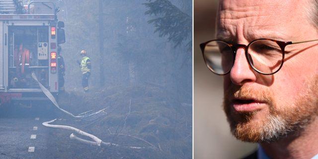 Skogsbranden i Hästveda/Inrikesminister Mikael Damberg (S). TT