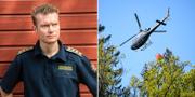Johan Szymanski och en helikopter som vattenbombar. TT