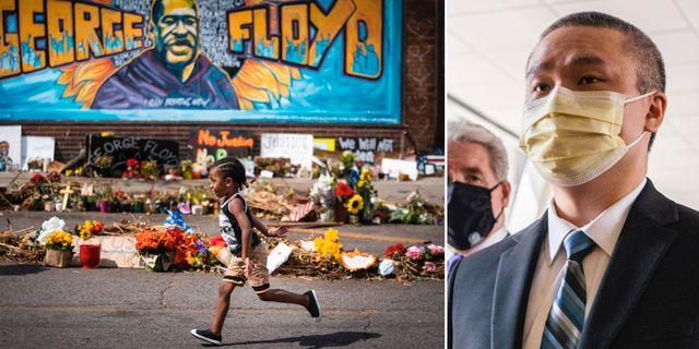 Väggmålning i Minneapolis till George Floyds minne/Tou Thao på väg in i rättssalen TT