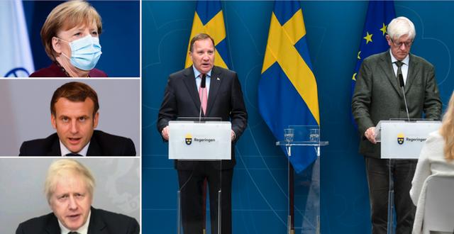 Angela Merkel, Emmanuel Macron, Boris Johnson, Stefan Löfven och Johan Carlson. TT