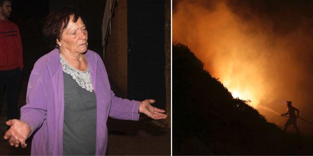 En kvinna lämnar sitt hem i Pontevedra i Spanien/En brandman kämpar mot lågorna.  TT