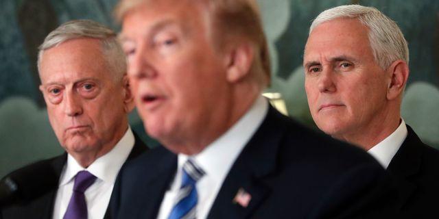 Jim Mattis/Donald Trump/Mike Pence. Pablo Martinez Monsivais / TT NYHETSBYRÅN/ NTB Scanpix