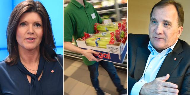 Eva Nordmark (S) och Stefan Löfven (S). Genrebild på anställd i butik.  TT