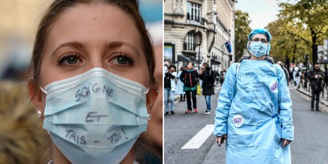 Fransk vårdpersonal strejkar i Paris. TT