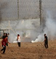 Bild från Gazagränsen.  Adel Hana / TT NYHETSBYRÅN