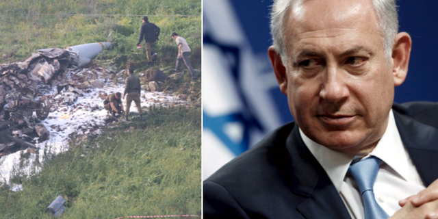 Det störtade F-16-planet/Benjamin Netanyahu. TT