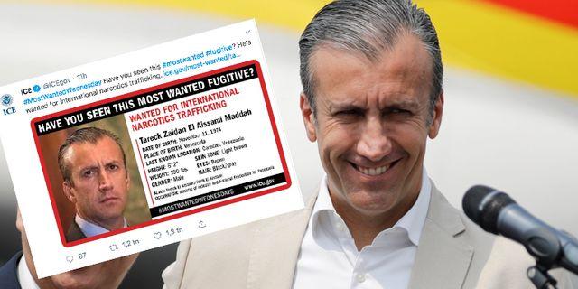 Tareck El Aissami och skärmdump av efterlysningen. TT/Twitter