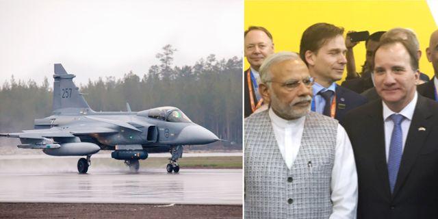 Arkivbilder: Jas Gripen, Stefan Löfven åkte till Indien 2016 och träffade Narendra Modi. TT