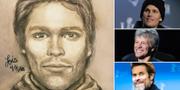 Teckningen, till vänster, är ritad av Michael Avenatti. Till höger: Tom Brady, Bon Jovi och Willem Dafoe.