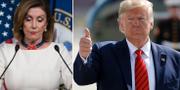 Donald Trump och Nancy Pelosi som inledde riksrättsprocessen mor presidenten.  TT/AP