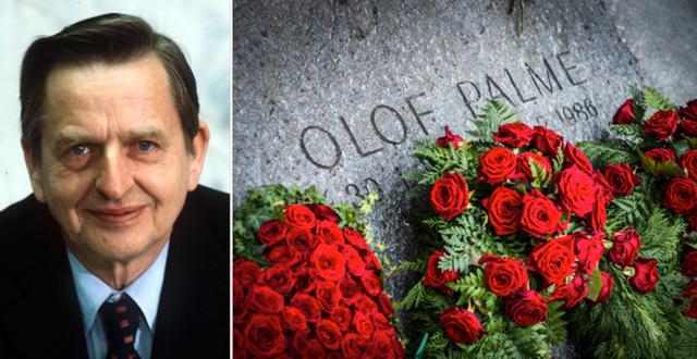 Sveriges tidigare statsminister Olof Palme, och en bild på hans gravsten.  TT.