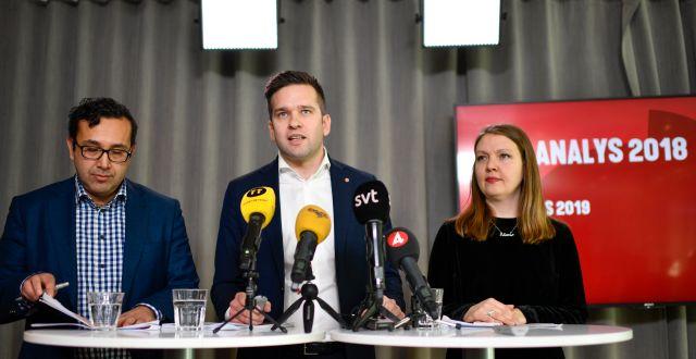 Socialdemokraternas valanalys presenterades på en pressträff tidigare idag. Anders Wiklund/TT / TT NYHETSBYRÅN