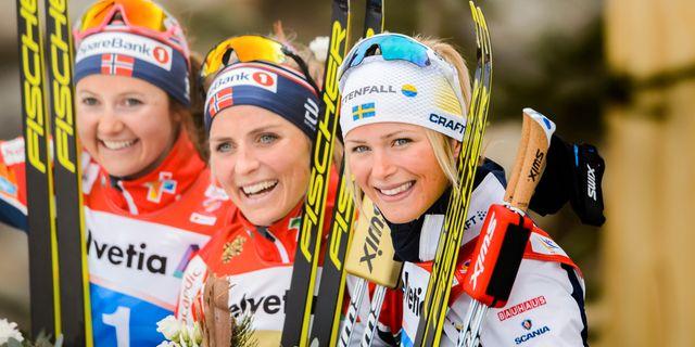 Ingvild Flugstad Østberg, Therese Johaug och Frida Karlsson.  JOHANNA LUNDBERG / BILDBYRÅN