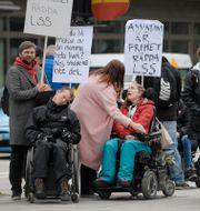 Demonstration om LSS på Vasagatan vid Norra Bantorget i Stockholm våren 2018. Janerik Henriksson/TT / TT NYHETSBYRÅN