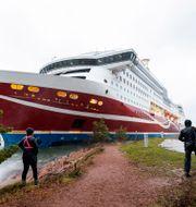 Viking Grace på grund i Mariehamn. Niclas Nordlund / TT NYHETSBYRÅN