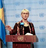Utrikesminister Margot Wallström (S) i FN:s säkerhetsråd. Arkivbild. John Alexander Sahlin/TT / TT NYHETSBYRÅN
