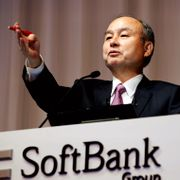 In this Nov. 6, 2019, file photo, SoftBank founder and Chief Executive Officer Masayoshi Son speaks during a news conference in Tokyo. TT NYHETSBYRÅN