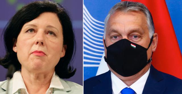 Věra Jourová och Viktor Orbán. TT