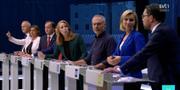 Skärmdump från slutdebatten. SVT