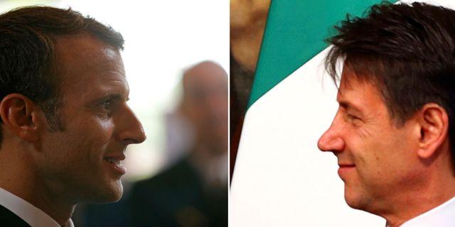 Emmanuel Macron och  Giuseppe Conte.  TT