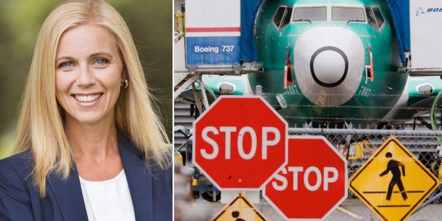 Pressbild: Swedsecs vd Katarina Lidén. Arkivbild: 737 Max-plan. Swedsec/TT