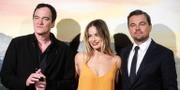Quentin Tarantino, Margot Robbie och Leonardo DiCaprio vid filmens italienska premiär. TT.