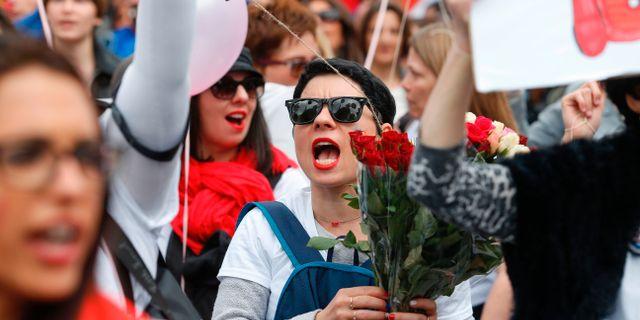 Bild från demonstrationen idag. GEOFFROY VAN DER HASSELT / AFP