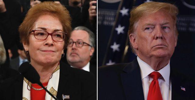 Marie Yovanovitch och Donald Trump. TT