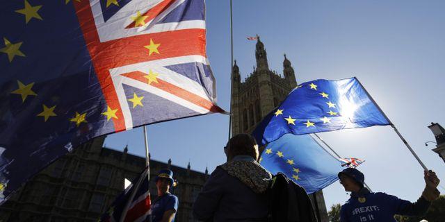 Arkivbild: Anti-brexit-demonstranter i London i början av oktober.  TOLGA AKMEN / AFP