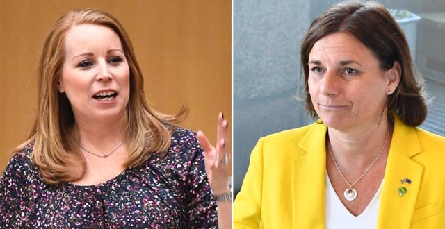 C-ledaren Annie Lööf och avgående MP-språkröret Isabella Lövin.  TT
