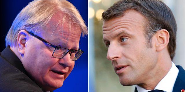 Peter Hultqvist/Emmanuel Macron. TT.