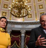 Representanthusets talman Nancy Pelosi och senatens minoritetsledare Chuck Schumer.  Susan Walsh / TT NYHETSBYRÅN