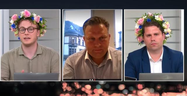 Programledare Albin Kjellberg, Catellas fondförvaltare Martin Nilsson och programledare Nicklas Andersson.  Skärmdump #Uppesittarkväll.