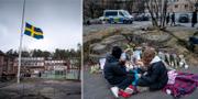 Bilder från skolan dagen efter knivdådet.  TT
