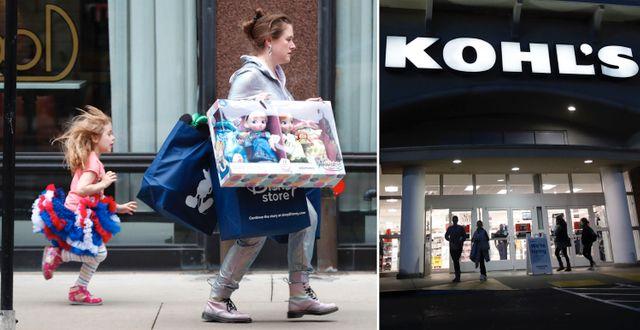 Mamma och dotter Black Friday-shoppar i Chicago, USA. Kohl's i Colma, Kalifornien.