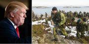 Donald Trump/svensk försvarsövning. TT