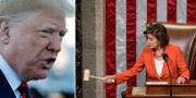 Donald Trump och den demokratiska talmannen Nancy Pelosi. TT