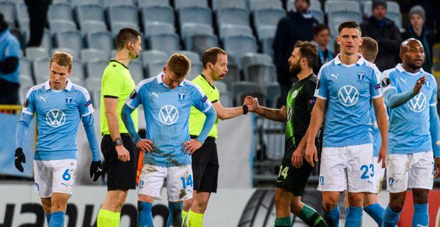 Malmö FF efter 0–3-förlusten hemma mot  Wolfsburg. LUDVIG THUNMAN / BILDBYRÅN