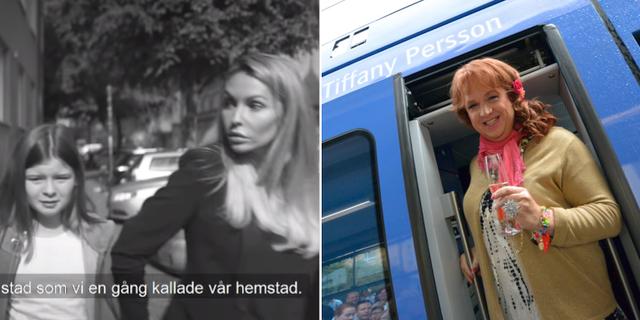 Skärmdump från reklamfilmen t.v. Tiffany Persson t.h. Staffanstorps kommun/TT
