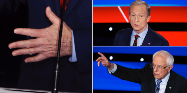 Tom Steyers hand, Tom Steyer och Bernie Sanders. TT