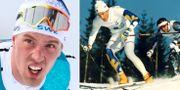 Calle Halfvarsson under dagens femmil/Christer Majbäck kör förstasträckan för Sverige i stafetten under OS i Lillehammar 1994. TT