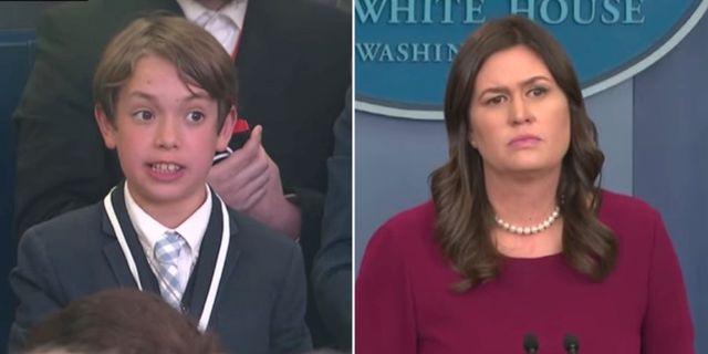 13-årige Benje Choucroun ställer sin fråga till Vita husets talesperson Sarah Huckabee Sanders. Foto: CNN